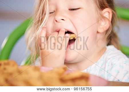 Close Up Of Girl Eating Chocolate Chip Cookie
