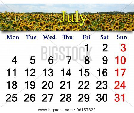 Calendar For July 2016 With Yellow Fly On The Sunflower
