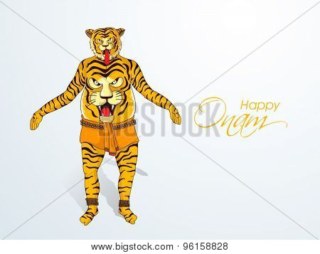 Illustration of a man ready for tiger dance (Puli Kali) on grey background for South Indian festival, Happy Onam celebration.