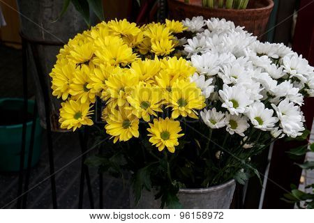 Beautiful Yellow Cut Flowers Sold On Outdoor Flower Shop