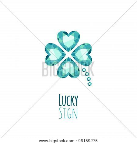 Green gemstones lucky clover icon logo.