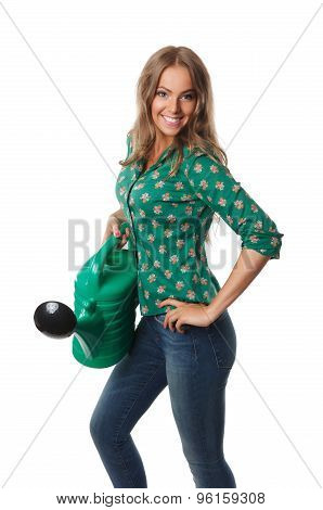 Pretty Woman Holding A Watering Can