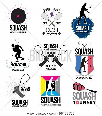 Set of retro squash logos, emblems and design elements.