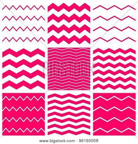 Tile vector pattern set with white and pink zig zag background