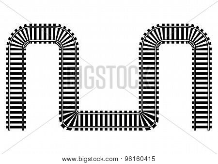 Railway Railroad Track Illustration In Black And White