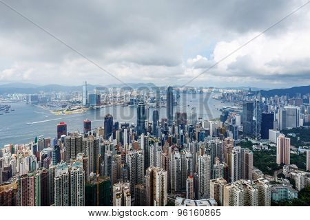 high angle view of panoramic skyline and cityscape of hong kong