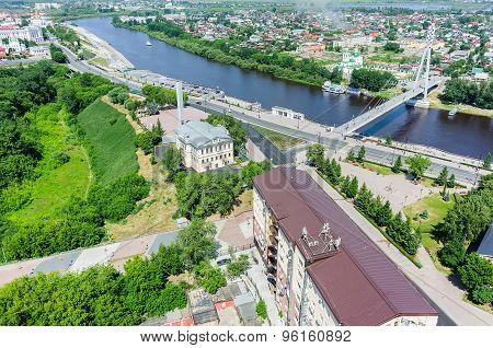 Historical center and Lovers Bridge.Tyumen.Russia