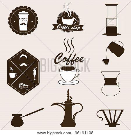 Coffee  Vector Set. Retro Style.
