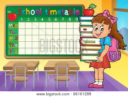 School timetable with girl holding books - eps10 vector illustration.