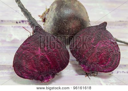 Sliced Beetroot On The Wooden Table