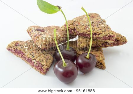 Integral Biscuits With Fresh Cherry Fruit  On White