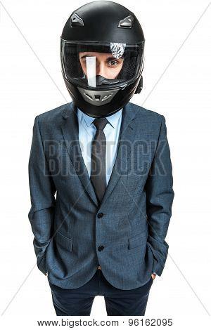 Businessman With Racing Helmet