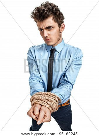 Man's Hands Tied Together With Rope, Modern Slavery Concept