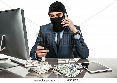 Masked Anonymous Businessman Wearing Balaclava Helmet