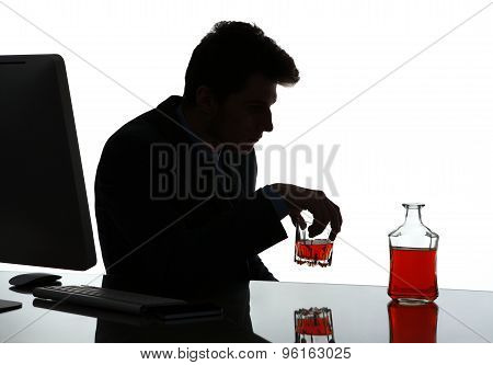 Silhouette Of Lonely Executive Tensed Due To Job Loss