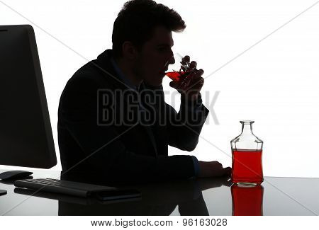 Silhouette Of Alcoholic Drunk Man Drinking Whiskey