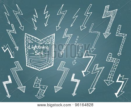 Set of hand drawn lightning bolts, arrows on blue background. Vector illustration