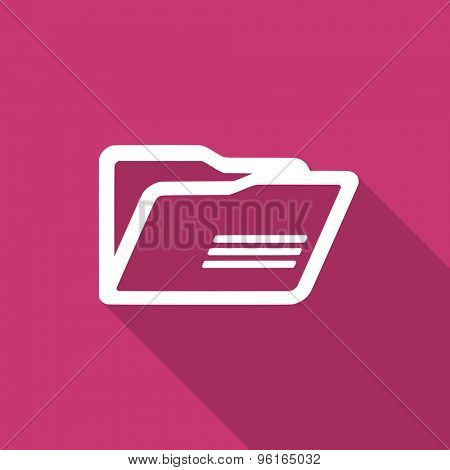 folder flat design modern icon with long shadow for web and mobile app