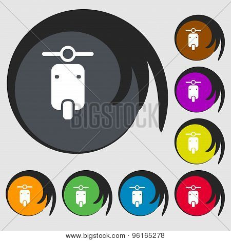 Motorcycle Icon Sign. Symbol On Eight Colored Buttons. Vector
