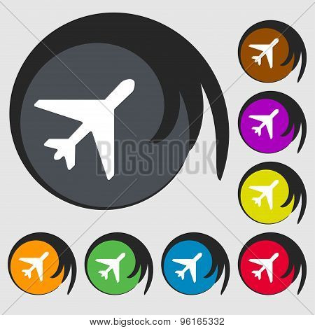 Airplane Icon Sign. Symbol On Eight Colored Buttons. Vector
