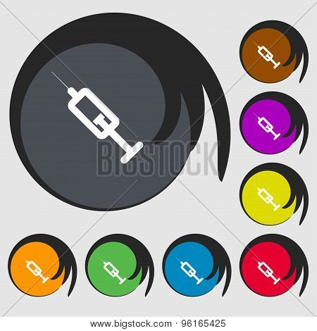 Syringe Icon Sign. Symbol On Eight Colored Buttons. Vector