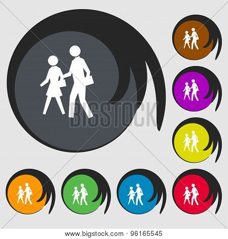 Crosswalk Icon Sign. Symbol On Eight Colored Buttons. Vector