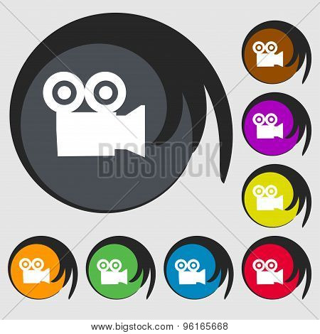 Video Camera Icon Sign. Symbol On Eight Colored Buttons. Vector