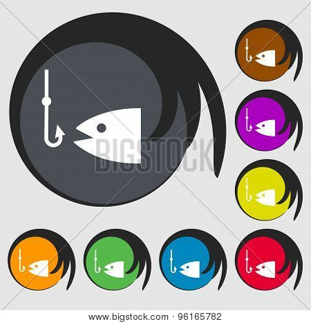 Fishing Icon Sign. Symbol On Eight Colored Buttons. Vector
