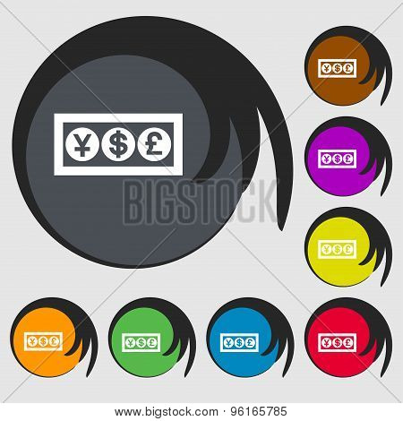 Cash Currency Icon Sign. Symbol On Eight Colored Buttons. Vector