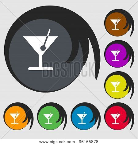 Cocktail Icon Sign. Symbol On Eight Colored Buttons. Vector