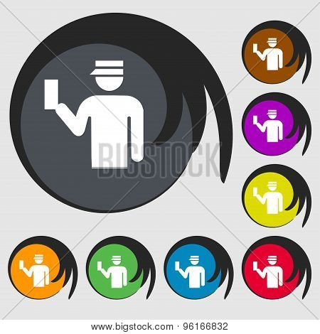 Inspector Icon Sign. Symbol On Eight Colored Buttons. Vector