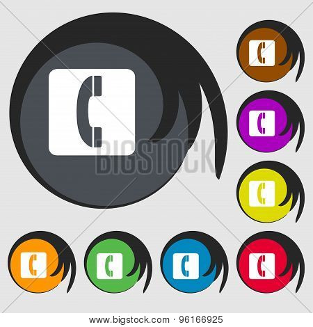 Handset Icon Sign. Symbol On Eight Colored Buttons. Vector