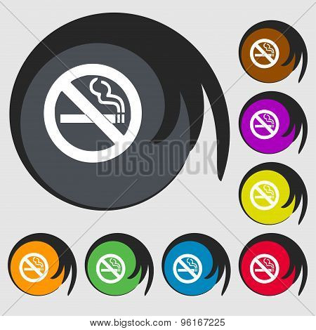 No Smoking Icon Sign. Symbol On Eight Colored Buttons. Vector