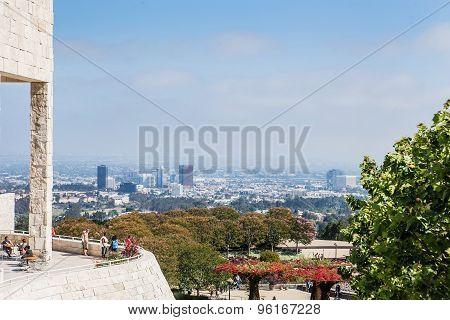 LOS ANGELES, USA - June 1, 2015: View from the J. Paul Getty Museum, known as Getty, is an art museu