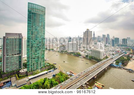 Landscape of River in Bangkok city in day time, bird view