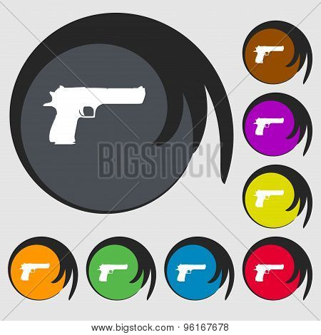 Gun Icon Sign. Symbol On Eight Colored Buttons. Vector