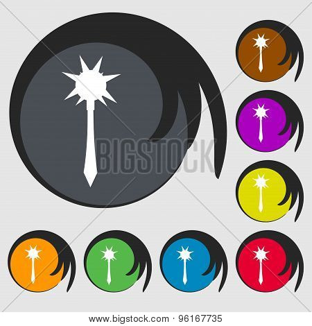 Mace Icon Sign. Symbol On Eight Colored Buttons. Vector