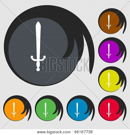 The Sword Icon Sign. Symbol On Eight Colored Buttons. Vector