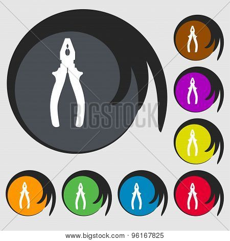 Pliers Icon Sign. Symbol On Eight Colored Buttons. Vector