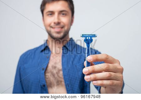 Attractive young man is ready for shaving