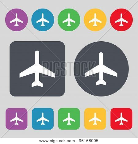 Airplane Icon Sign. A Set Of 12 Colored Buttons. Flat Design. Vector
