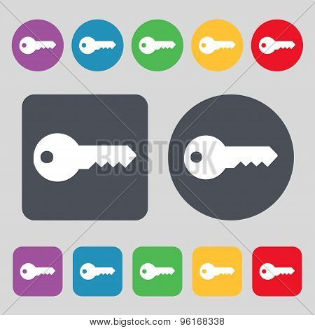 Key Icon Sign. A Set Of 12 Colored Buttons. Flat Design. Vector