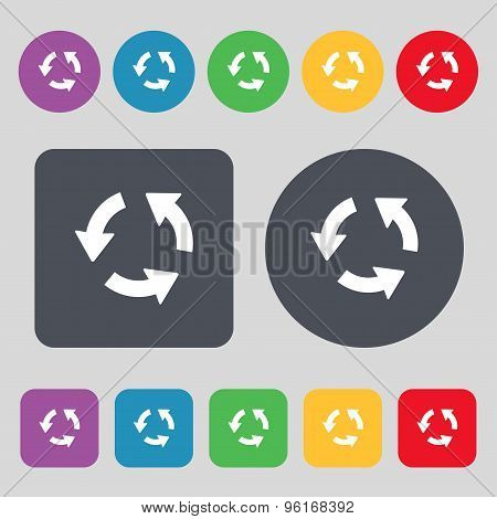 Refresh Icon Sign. A Set Of 12 Colored Buttons. Flat Design. Vector
