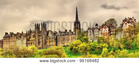 View Of New College From Princes Street Gardens In Edinburgh