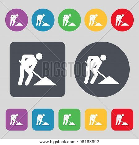 Repair Of Road, Construction Work Icon Sign. A Set Of 12 Colored Buttons. Flat Design. Vector