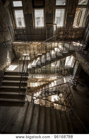 Concrete Stairs In An Abandoned Building