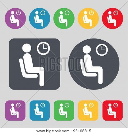Waiting Icon Sign. A Set Of 12 Colored Buttons. Flat Design. Vector