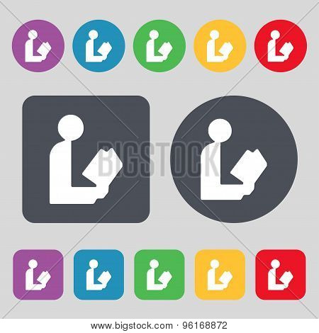 Read A Book Icon Sign. A Set Of 12 Colored Buttons. Flat Design. Vector