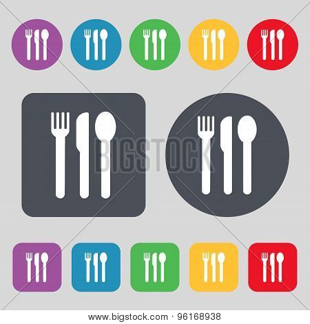 Fork, Knife, Spoon Icon Sign. A Set Of 12 Colored Buttons. Flat Design. Vector