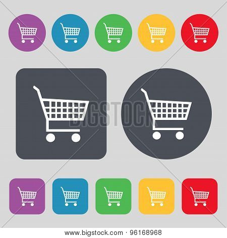 Shopping Cart Icon Sign. A Set Of 12 Colored Buttons. Flat Design. Vector